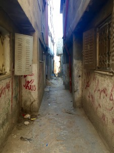 Empty, narrow path in the refugee camp